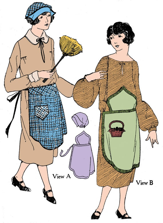 Vintage Aprons, Retro Aprons, Old Fashioned Aprons & Patterns 1920s Ladies Apron & Cap  - Reproduction Sewing Pattern #Z0104 $11.00 AT vintagedancer.com