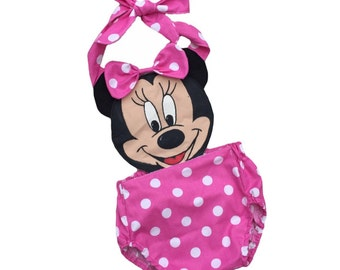 Minnie Mouse Romper pink great for halloween, spring, easter, summer, birthdays, disney