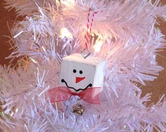 Snowman Christmas Tree Ornament, Wood Block Ornament, Upcycled Wood Blocks, Snowman Holiday Decor, Country Christmas Decor, Wooden Snowman