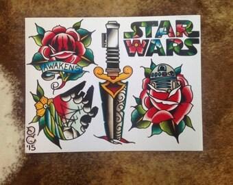 Star Wars Tattoo Flash Sheet 11x14