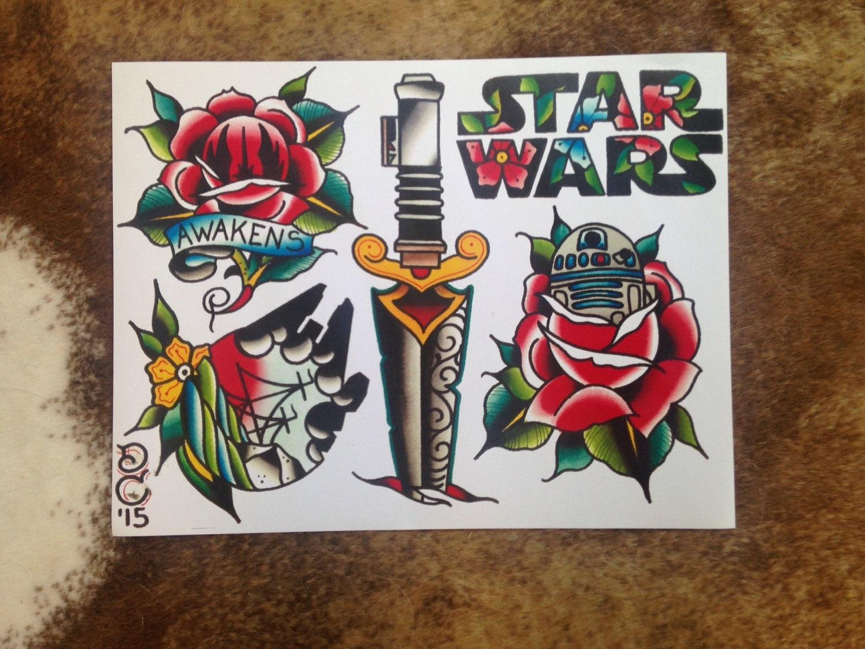 Star Wars Tattoo Flash Sheet 11x14 by DrewCottomArt on Etsy