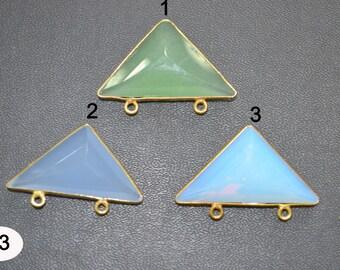 INCREDIBLE SALE on Gemstone Briolette Hut Top Shape Connectors 18x30 mm app. sizes , Hydro Quartz Multi color Bezel Double Loop - You Choose