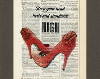High Heels, Head, Heels Standards, Shoes, Dictionary Art Print, Upcycled Dictionary Page, Old Book Art, Decorative Wall Art,