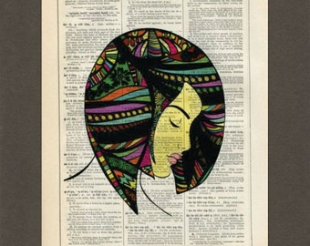 Psychodelic Hair Woman, Dictionary Art Print, Upcycled Dictionary Page, Old Book Art, Decorative Wall Art,