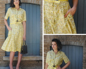 Yellow Floral Shirt Dress