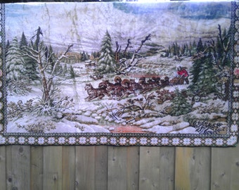 Vintage Tapestry Eskimo Dog Sled Winter Native Blanket  Wall Hanging Rug tree Outdoor Forest Snow Decoration Cabin Lodge Inuit christmas
