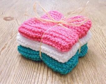 Hand Knit Washcloth Set / Cotton Washcloth / Knitted Dishcloths / Bath Decor / Dish Cloths / Knit Washcloths / Skin Care / Housewares