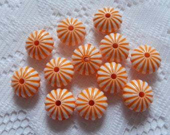 12  Halloween Orange & White Puffed Ribbed Saucer Acrylic Beads  14mm