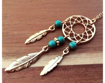 dream catcher necklace from gold filled