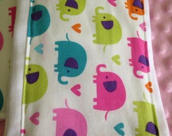 Multi color elephant print burp cloth
