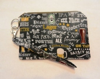 Beer Brewery Brewing Zippered Wristlet Clutch Purse