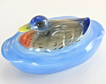 Lidded Dish, Lidded Candy Dish, Ceramic Duck Lidded Dish, Ceramic Duck on Water, Ceramic Duck on Water Lidded Dish, Hunting Decor, Man Cave