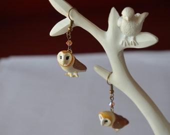 Barn Owl necklace - polymer clay - handmade