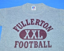 80s Fullerton Football Heathered Gray Rayon Tri Blend Vintage t-shirt Youth Small