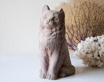 Vintage concrete garden cat statue cement kitty lawn ornament statuary