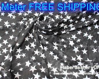 5m Chiffon fabric CH195A - FREE SHIPPING in wonderful fashion stars design