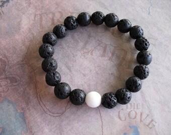 Black lava rock and White coral stone bracelet