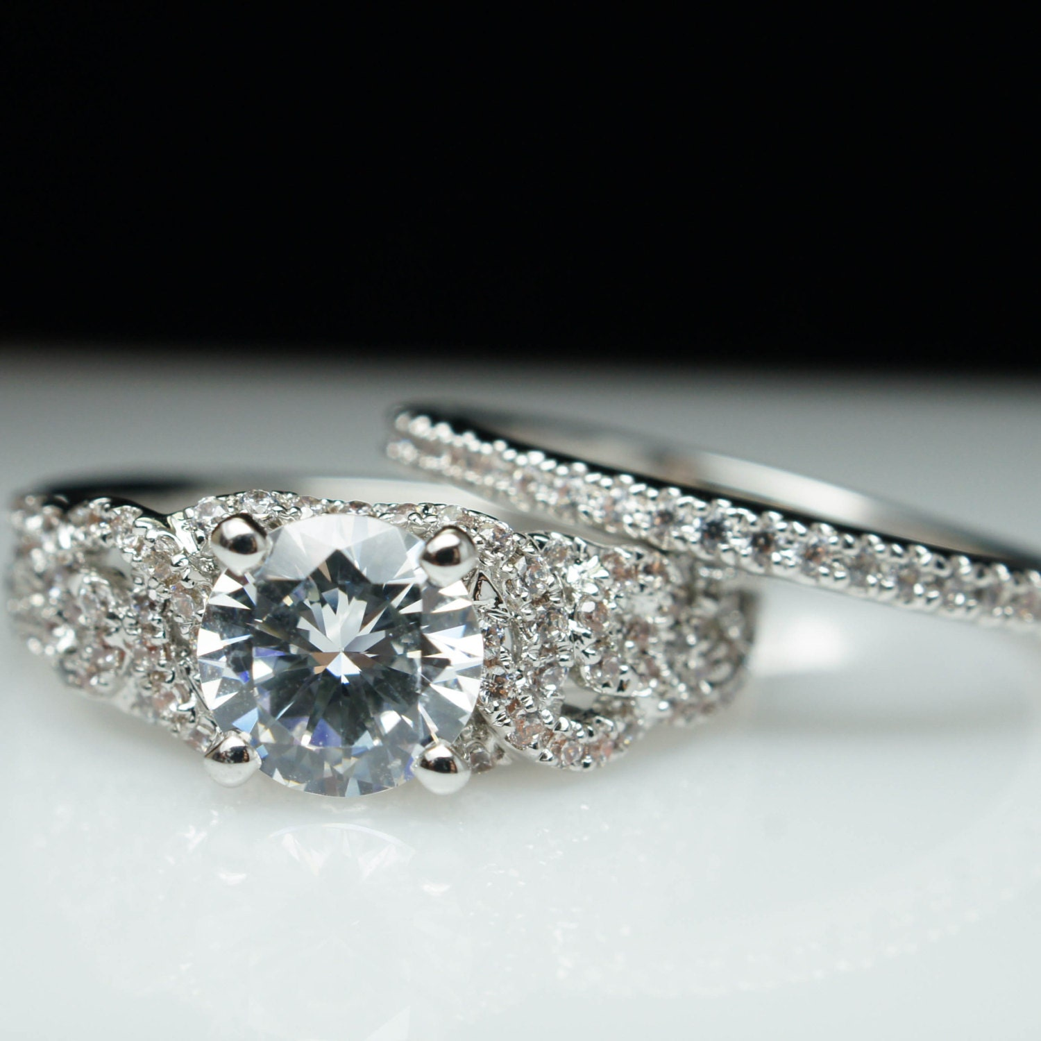 diamond engagement ring & matching wedding band set solitaire