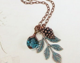 Leaf Branch Necklace Pendant Teal Blue Copper Pine Cone Fall Autumn Leaves Jewelry