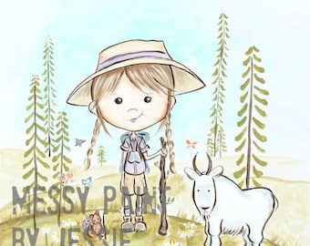 Adventure girl, woodland art/ Go have an Adventure/ Girls room wall Art, Illustration