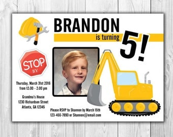 Construction Birthday Party Invitations   |  Sold in Sets of 8
