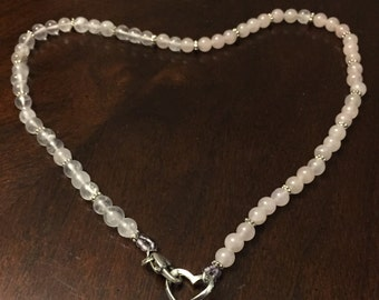 Rose quartz necklace & sterling silver heart