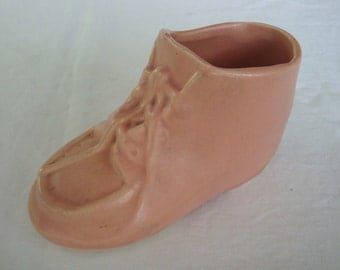 Vintage Nelson McCoy Pink Baby Shoe Planter