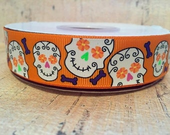 Halloween Candy Skulls 7/8 Tangerine Grosgrain Glow in the Dark Ink