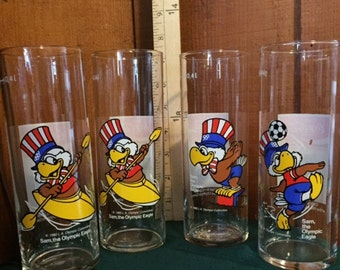 Coca Cola - Four 1984 LA Olympics glasses from Germany