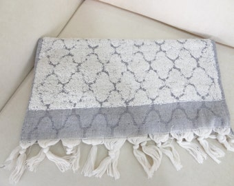 Hand and Face Towels, Grey,EcruTassel Towels, Handwoven Peshkir, Natural,Organic,Thick Towels, Turkish towels, Gift for Her