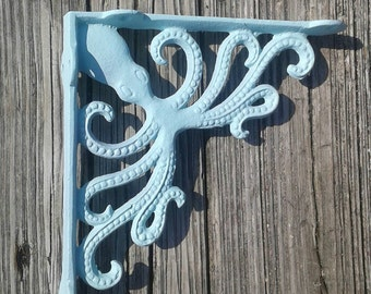 Octopus cast iron bracket, shelf bracket, nautical decor, beach decor, coastal decor, wall bracket, wall shelf bracket, beach house