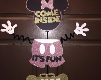 Minnie Mouse Pink and Gold Glitter Door Hanger - Come Inside It's Fun Inside
