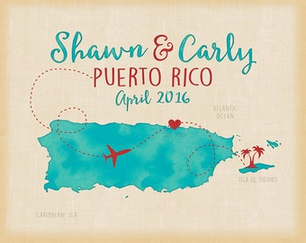 Puerto Rico, San Juan, Vieques, Custom Wedding Gift, Honeymoon Destination Wedding, Cruise, Gift for Wife, Husband, Engagement, Island Map