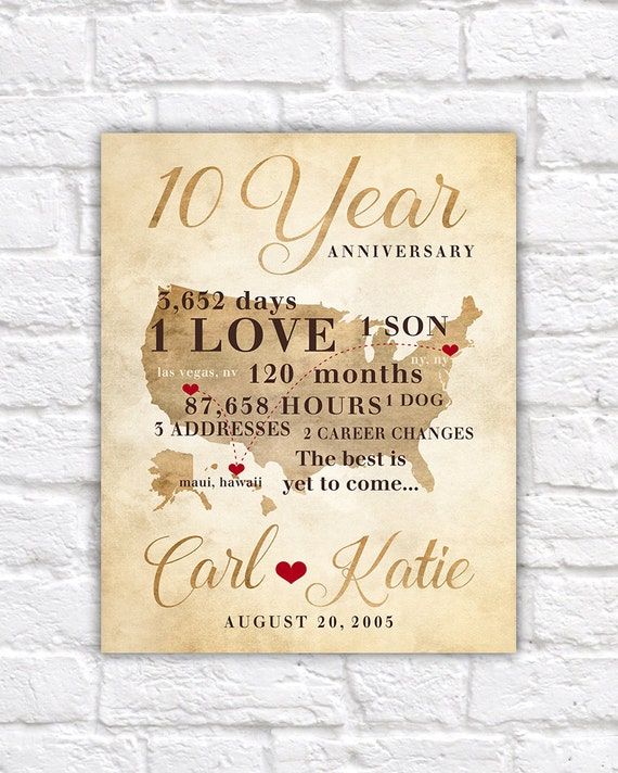 10 Yr Wedding Anniversary Gift Ideas : 10 Year Anniversary Gift, Gift for Men, Women, His, Hers 10th ...