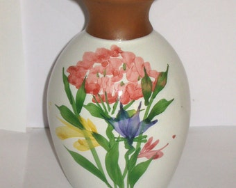 Emerson Creek Pottery USA Clay Bud Vase with Hand-Painted Flowers Design