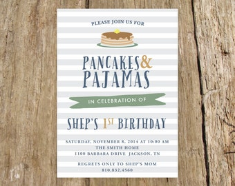 Pancakes and Pajamas Birthday Party Invitation - Brunch Birthday Party