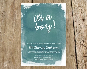 Watercolor It's a boy Baby Shower Invitation