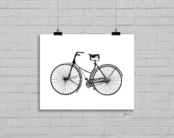 Bike Drawing Bicycle Art Pen and Ink Illustration Art Drawing Home Decor Giclee Print