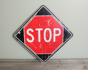 Large Vintage Stop Sign, Stop and Slow Sign, Reversable Sign, Large Metal Sign, Industrial Wall Decor, Wall Hanging