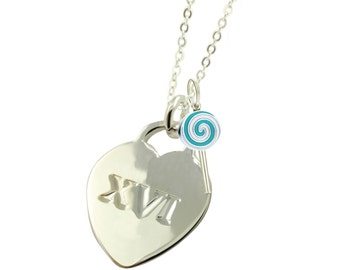 Silver Plated Sweet 16 XVI Necklace BL (Free Shipping)
