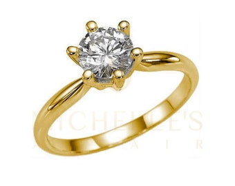 Diamond Ring 1 1/2 ct D SI2 Round Cut 14 Karat Yellow Gold Women Solitaire Engagement Ring Size 4 5 6 7 8