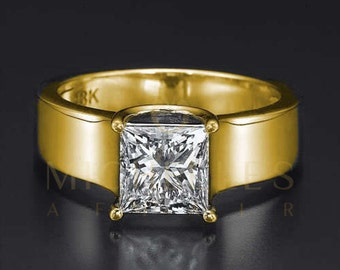 Diamond Ring 1.10 ct D VS2 Princess Cut 18 Karat Yellow Gold Women Solitaire Engagement Ring Size 4 5 6 7 8