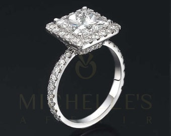 Women Princess Cut Diamond Ring 18 Karat White Gold Setting Certified H VS2 3 Carat Diamond Engagement Ring For Her
