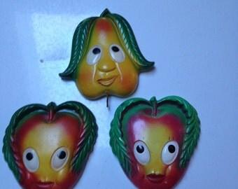 Vintage Chalk Kitchen Decoration Apples and Pear Farm House Decor