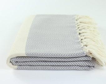Herringbone Turkish Beach Towel, Peshtemal, Fouta, Bath, Hammam, Spa, Swim, Pool Towel Gray