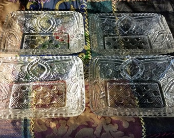 Square Bowls Set of 4 Higbee Early American Pressed Glass EAPG