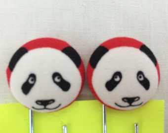 Panda Covered Button Giant Paperclip, Bookmark, Organizer Clip