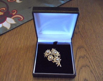 1950's Gilt Metal and Pearl Rose Brooch