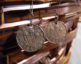 SALE. Vintage Coin Earrings, Three Pence, Great Britain