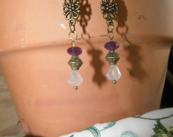 Rose Quartz and Amethyst Dangle Earrings